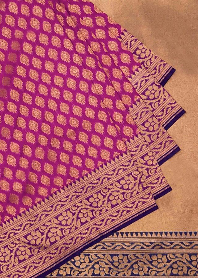 Silk saree in rani pink with gold pallav border only on Kalki