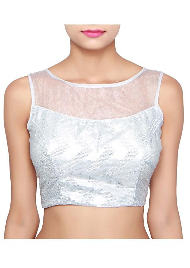 Silver blouse adorn in sequin only on Kalki