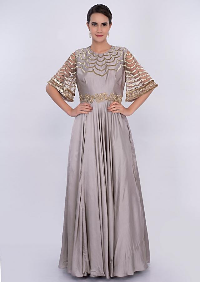 Silver grey A line gown with scallop embroidery only on Kalki