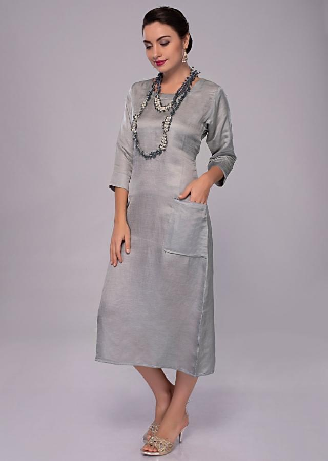 Silver grey cotton silk kurti with 2 front pocket only on Kalki