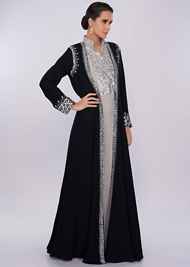 Silver grey crepe tunic dress with navy blue  long jacket only on kalki