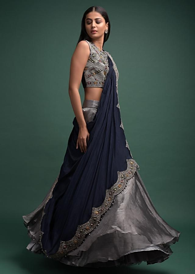 Silver Grey Lehenga And Midnight Blue Crop Top With Attached Dupatta Online - Kalki Fashion