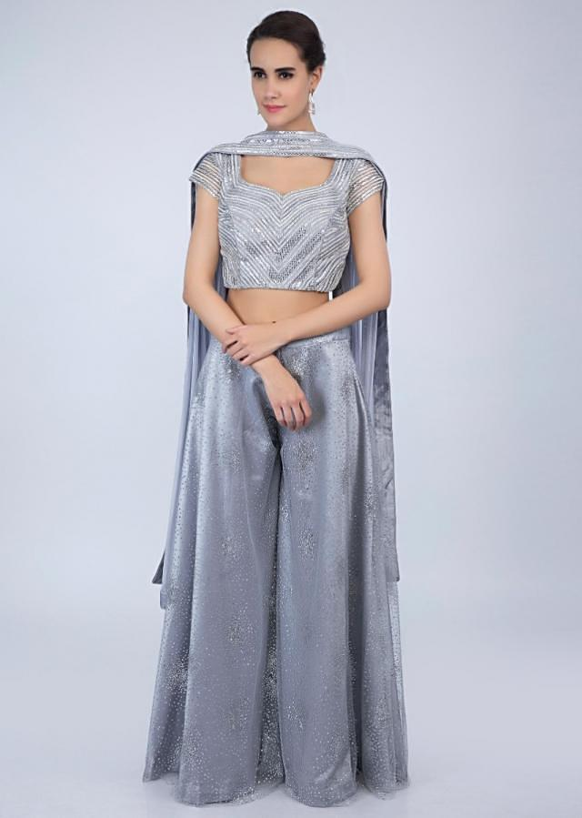 Silver grey palazzo and crop top with lycra net dupatta only on Kalki