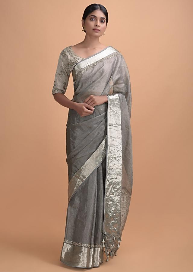 Silver Grey Plain Saree In Organza Silk With Embroidered Border And Pallu Online - Kalki Online