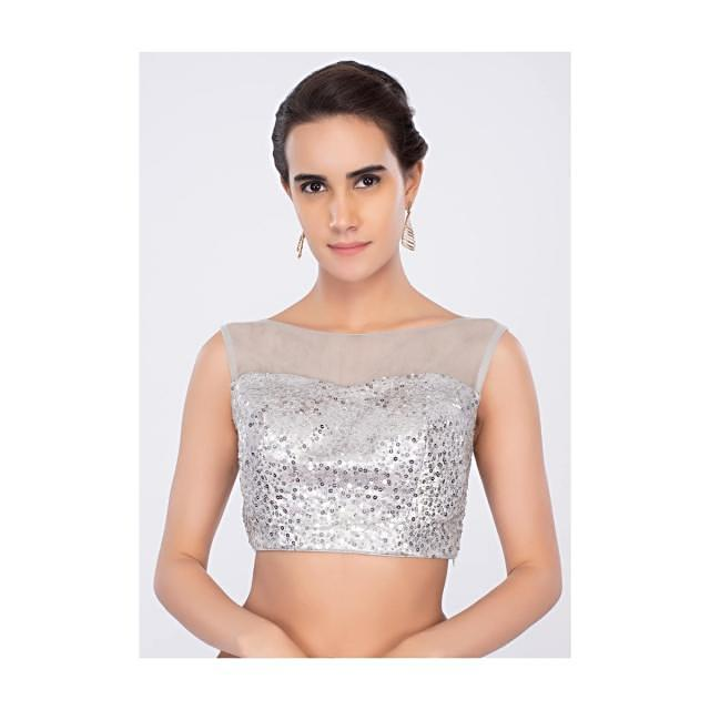 Silver net  sequins embroidered blouse only on kalki