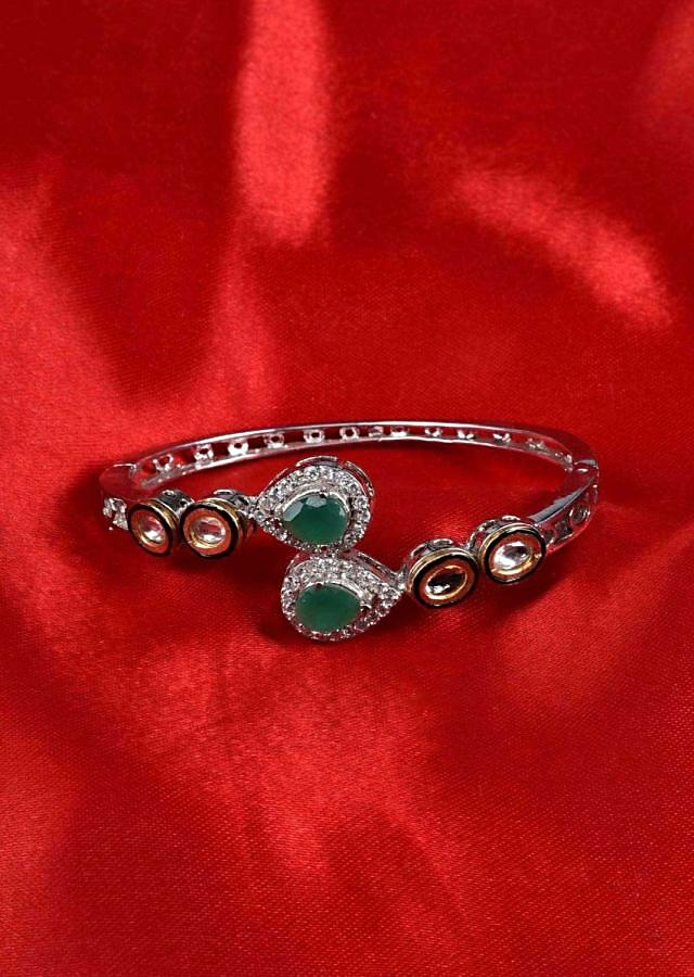 Silver plated fancy kada studded in kundan and jade green stone only on Kalki