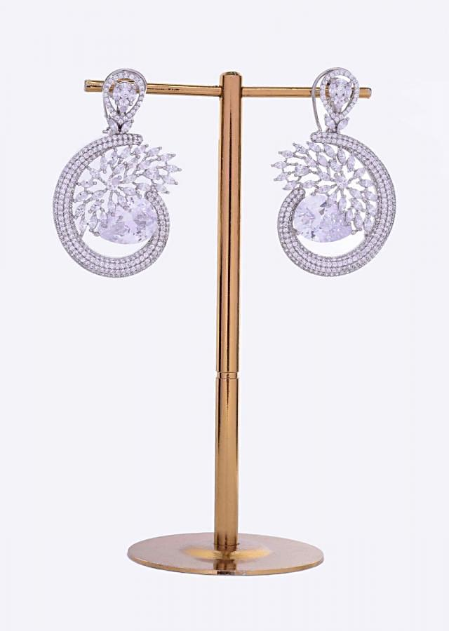Silver stone studded cut out dangler in abstract motif only on Kalki
