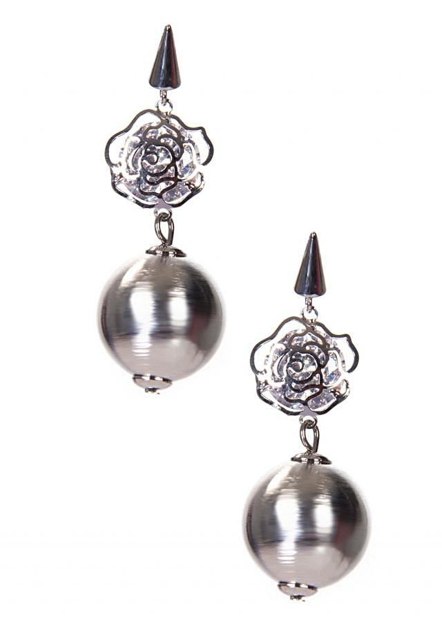 Silver Metallic Earring With Attached Pearls and Flower Motif only on Kalki