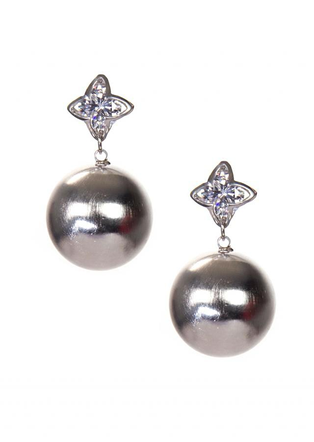 Silver Metallic Earring With Attached Pearls only on Kalki