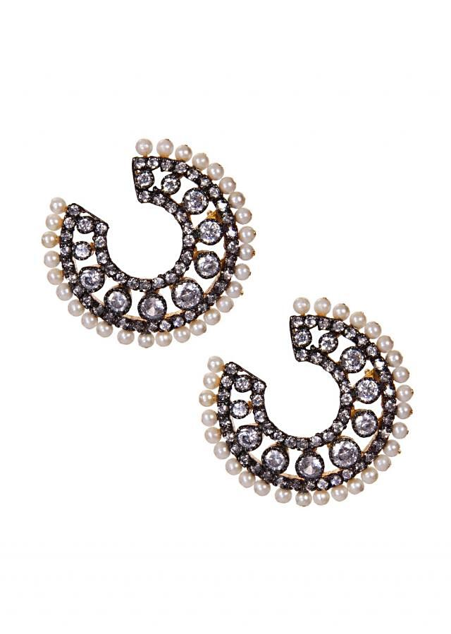 Silver Studs Embellished In Diamonds And White Pearls only on Kalki