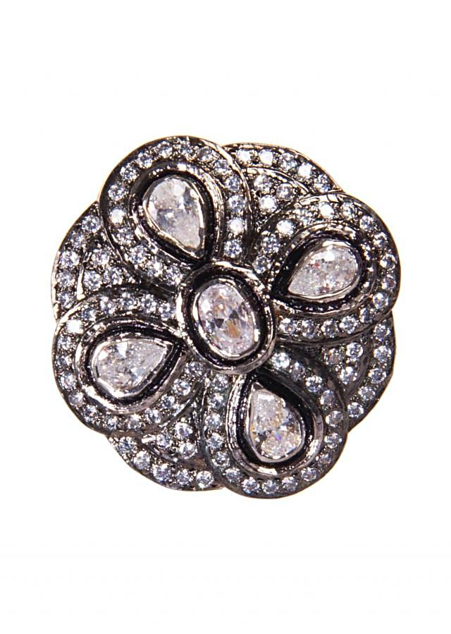 Silver Studs Embellished With Diamonds and White Stones only on Kalki