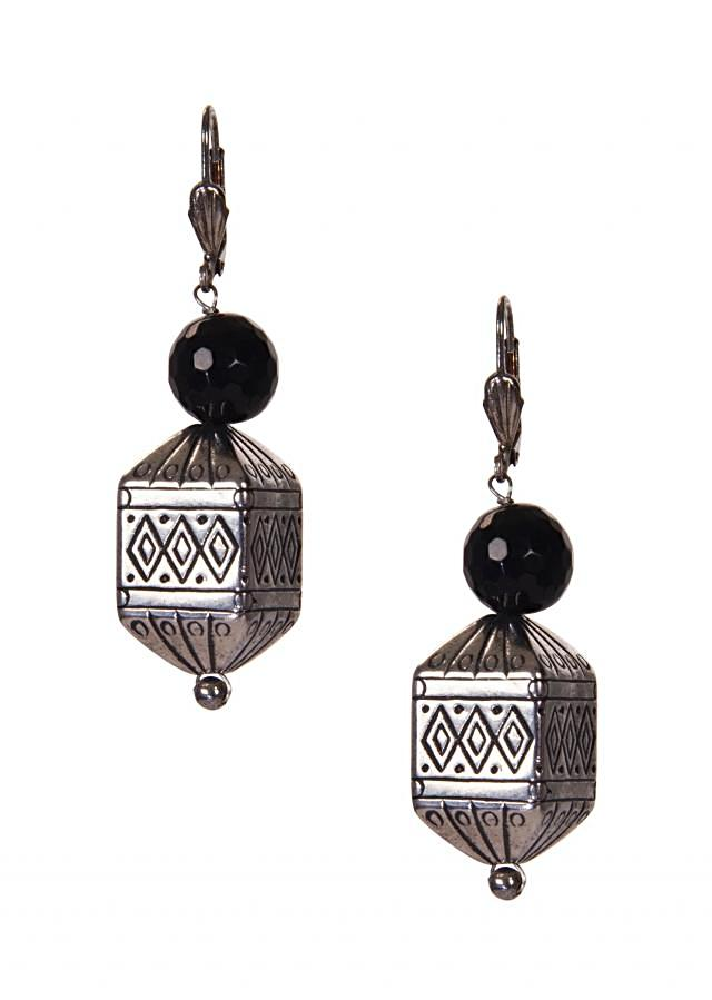 Silver Toned Earrings  With A Black Jewel Stone only on Kalki