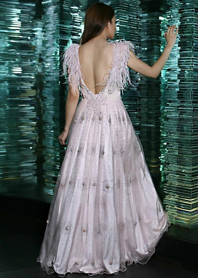 Baby Pink Shimmer Gown In Shimmer Net With Fancy Feather Sleeve Online - Kalki Fashion