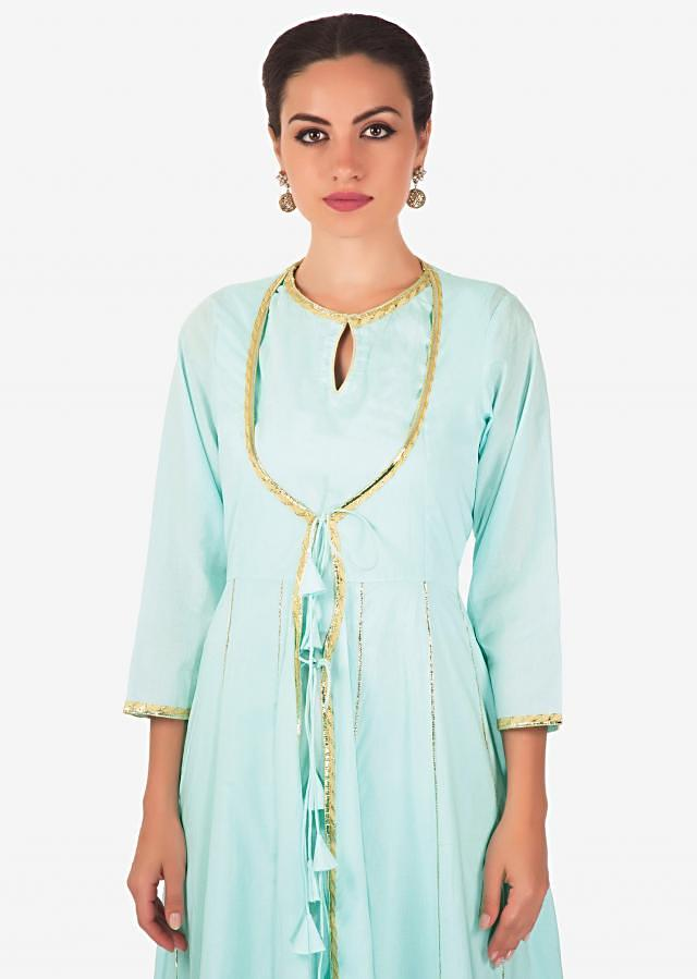 Sky blue A line dress with attach jacket in gotta lace only on Kalki