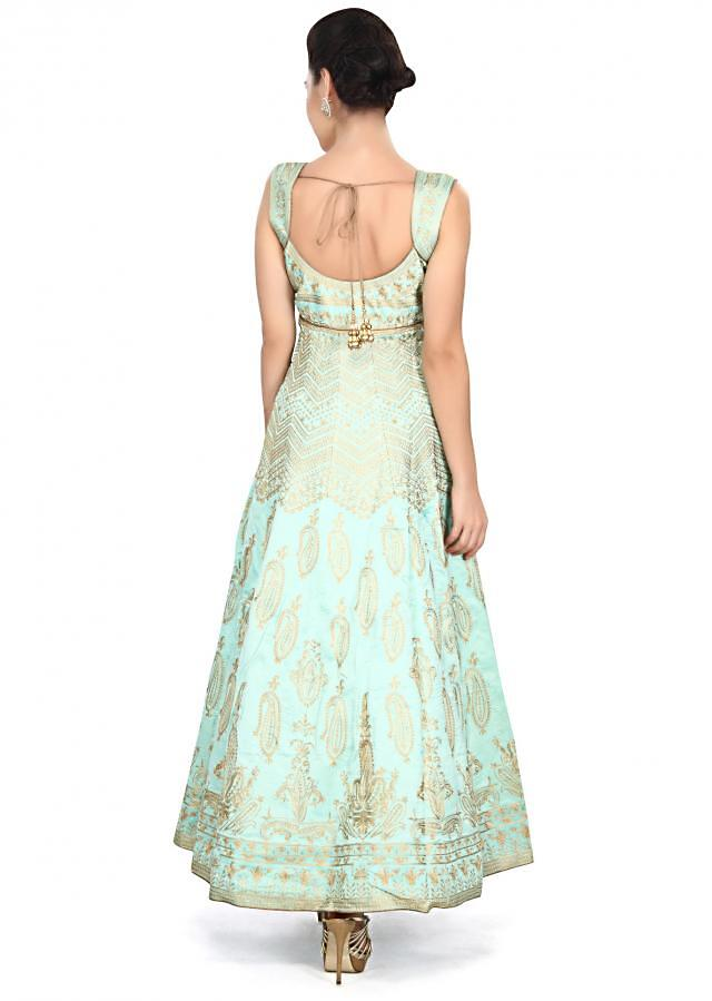 Sky blue anarkali suit embellished in zari embroidery only on Kalki
