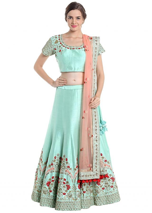 Sky blue and dark pink lehenga choli with resham and zardosi only on Kalki