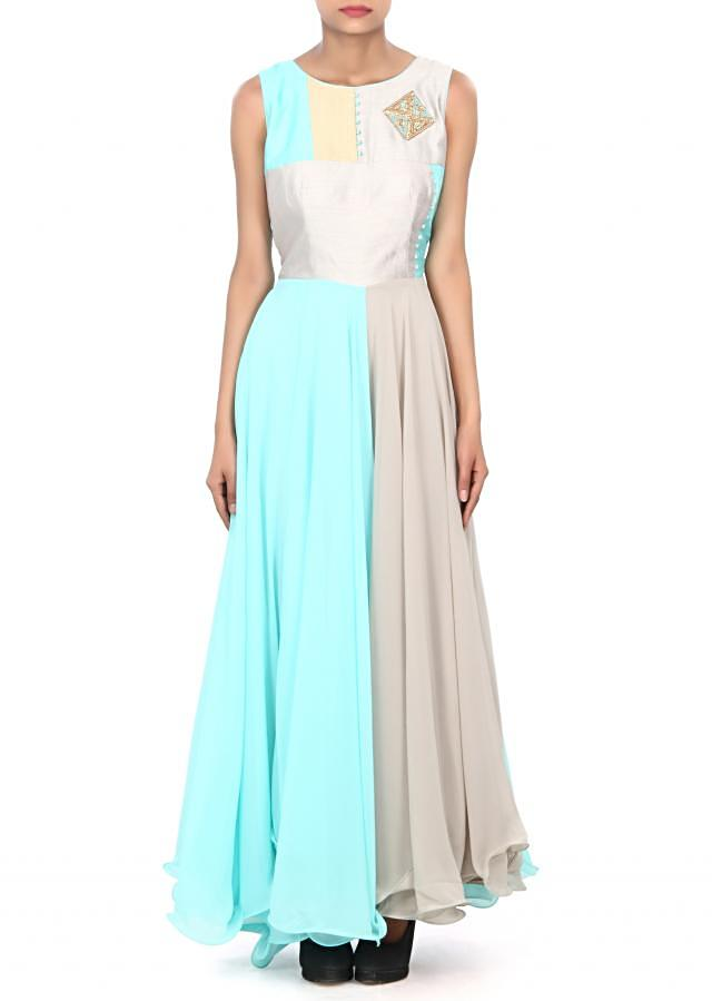 Sky blue and grey anarkali suit enhanced in French knot embroidery only on Kalki