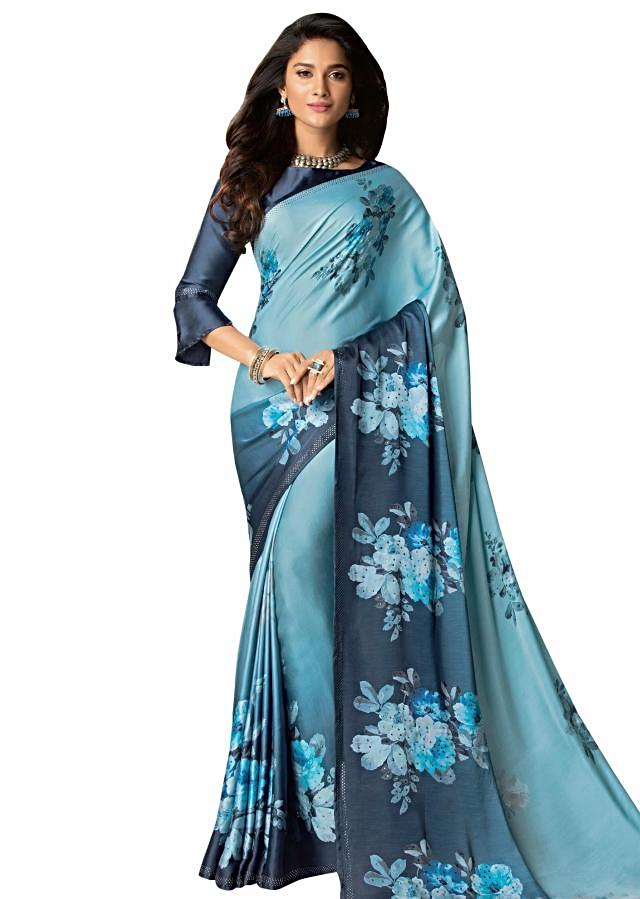 Sky blue and navy blue saree in satin with floral printed digital butti