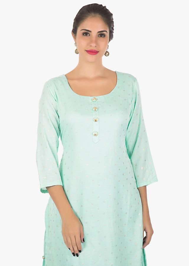 Sky blue cotton kurti with attached under layer with gathers only on kalki