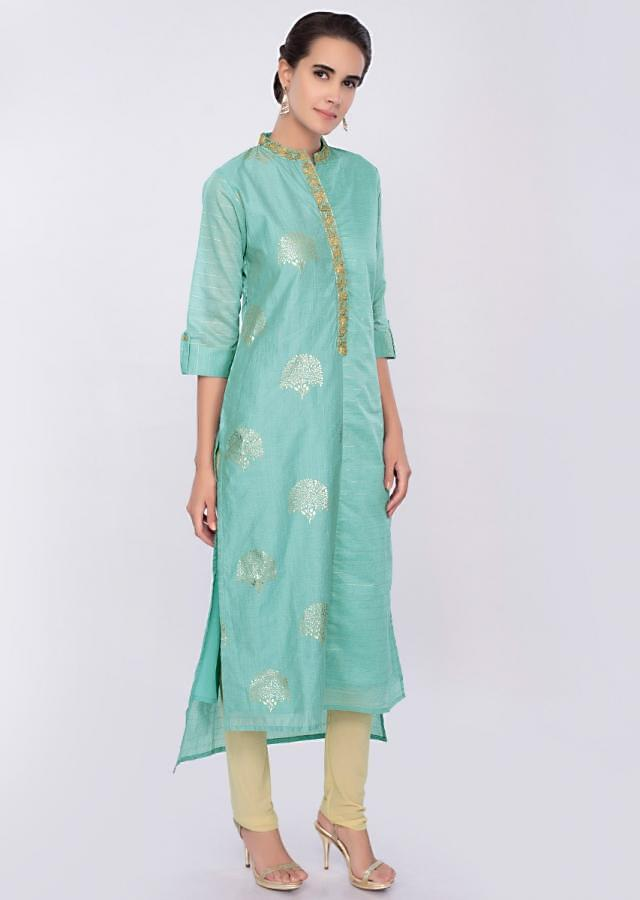 Sky Blue Kurti In Cotton With Foil Print And Zari Embroidery Online - Kalki Fashion