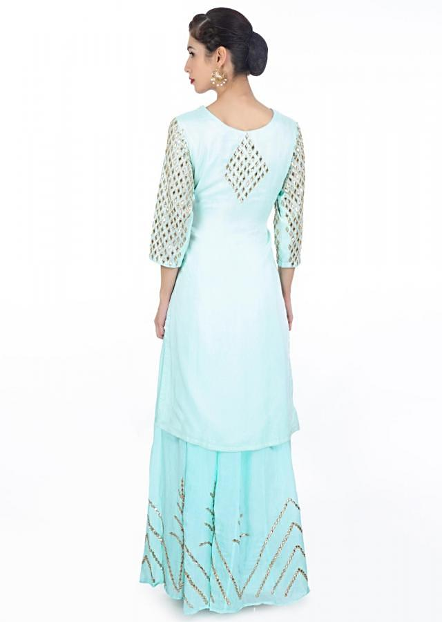 Sky Blue Suit In Cotton With Gotta Patch Embroidery Paired With Matching Cotton Palazzo And Chiffon Dupatta Online - Kalki Fashion