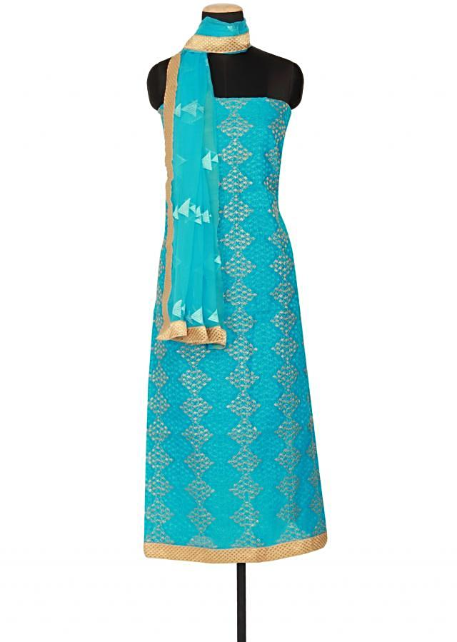 Sky blue cotton un-stitched salwar-kameez embellished in resham and zari embroidery only on Kalki