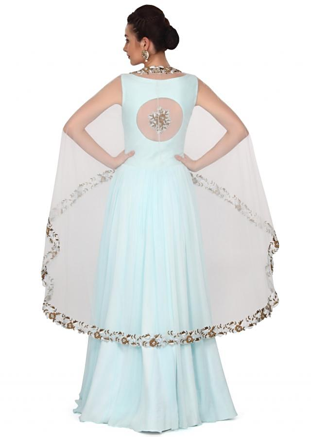 Sky blue dress matched with embroidered cape only on Kalki