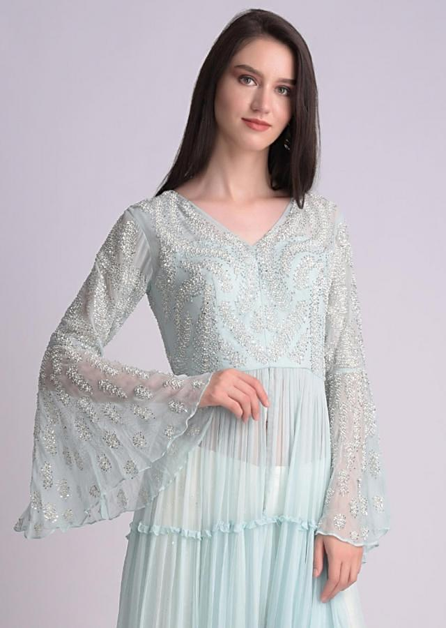 Sky Blue Front Slit Suit With Tiers And Embellished Bodice Online - Kalki Fashion