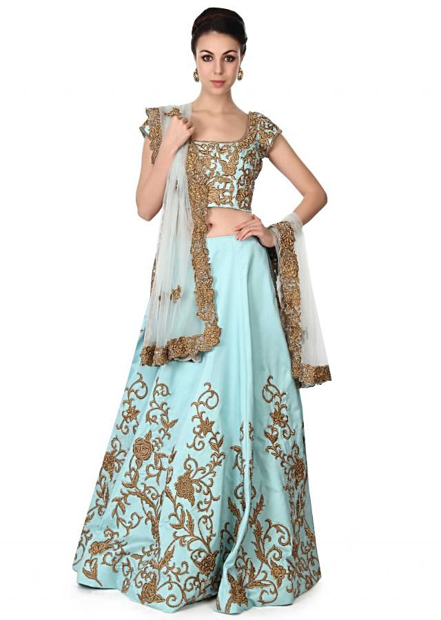 Sky blue lehenga adorn in zari in floral motif only on Kalki