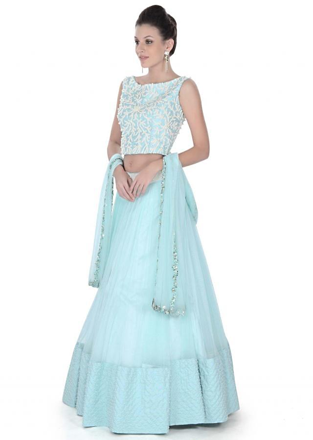 Sky blue lehenga embellished in pearl and thread work only on Kalki