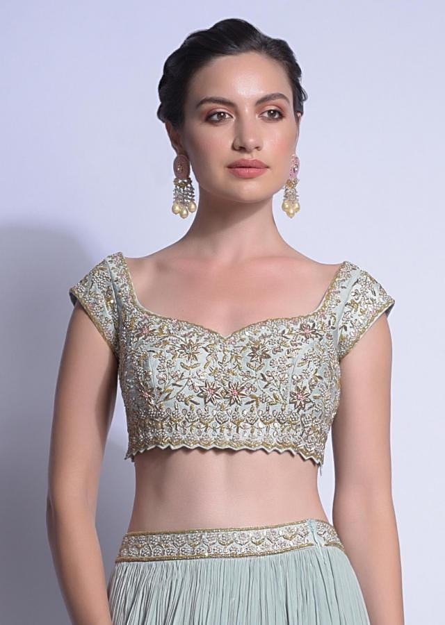 Sky Blue Lehenga With Ready Stitched Ruffle Pallu And Embellished Crop Top Online - Kalki Fashion