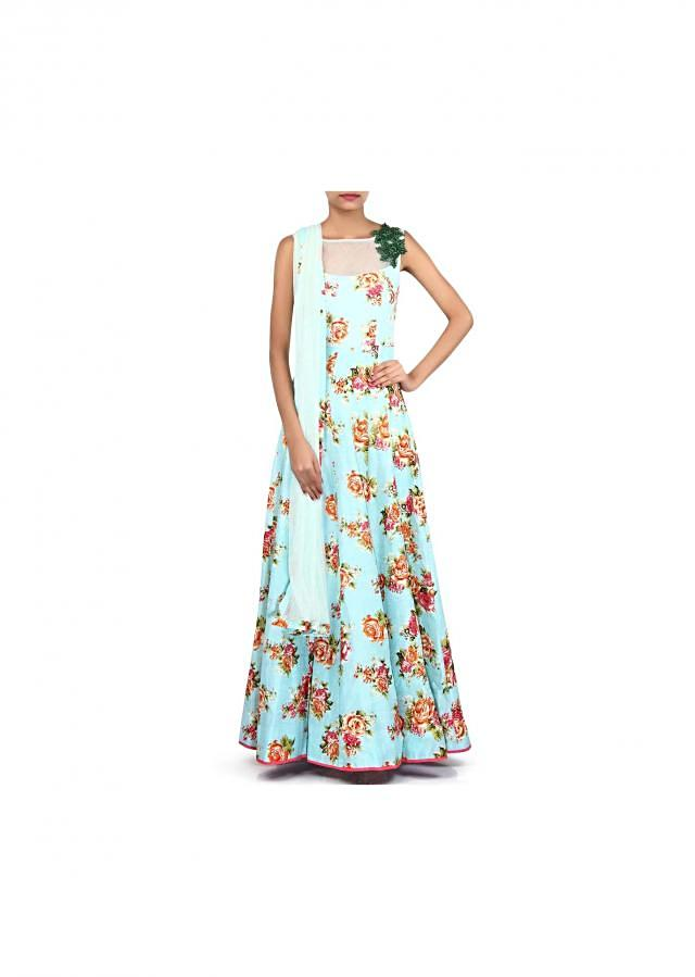 Sky blue printed gown adorn in embroidered butti only on Kalki