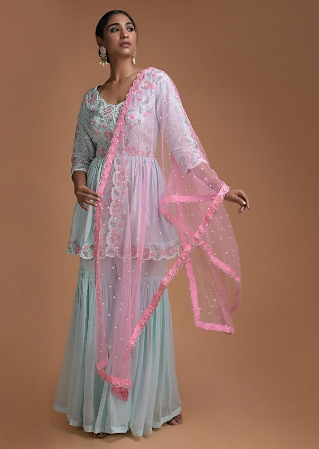 Sky Blue Sharara Suit With Peplum Top And Pink Dupatta Having Floral Embroidery Online - Kalki Fashion