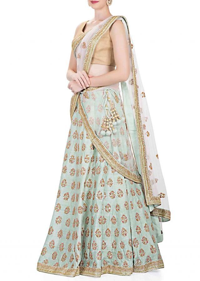 Sky Blue Silk Lehenga, Blouse and Pale Purple Net Dupatta Featuring Resham Embroidery and Sequins only on Kalki