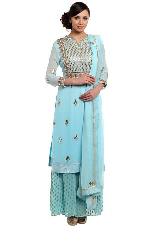Sky blue straight palazzo suit in gotta patch applique work only on Kalki