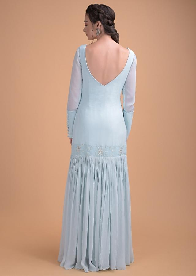 Sky Blue Suit In Georgette With Gathered Flair From The Thighs And Thread Embroidery Online - Kalki Fashion