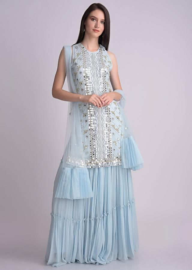 Sky Blue Suit With Flared Tiered Palazzo In Chiffon With Mirror Abla Work Online - Kalki Fashion