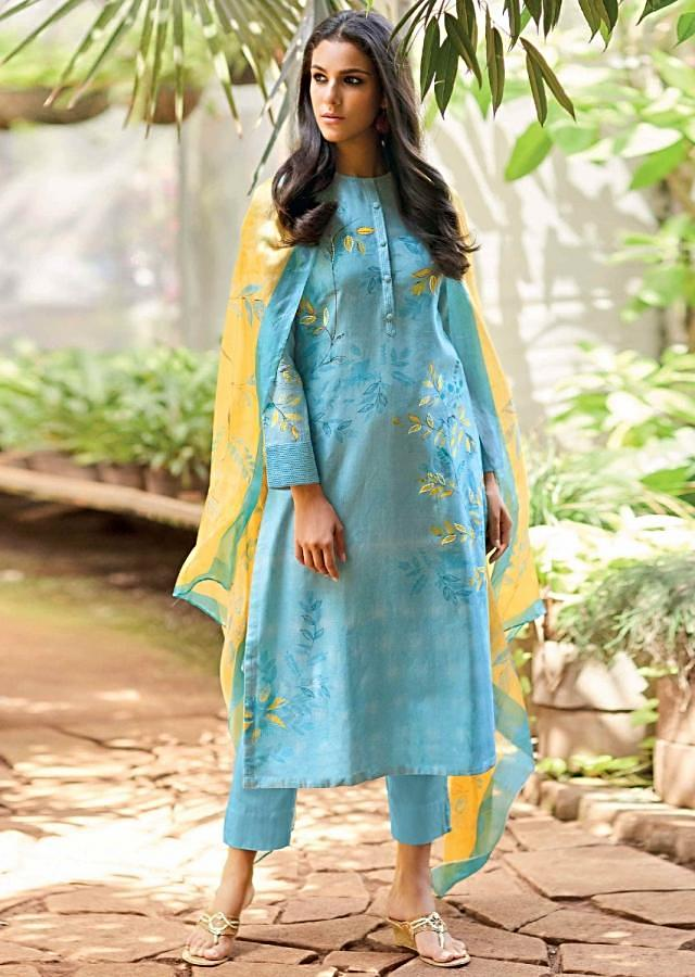 Sky Blue Unstitched Cotton Suit Set With Leaf Print And Embroidery Online - Kalki Fashion