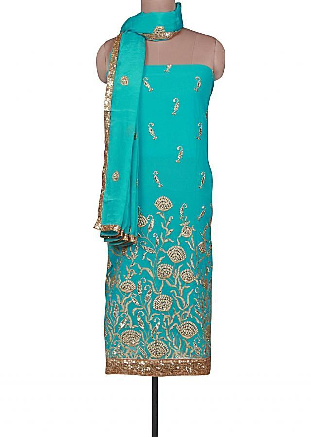 Sky blue unstitched suit adorn in resham and sequin embroidery only on Kalki