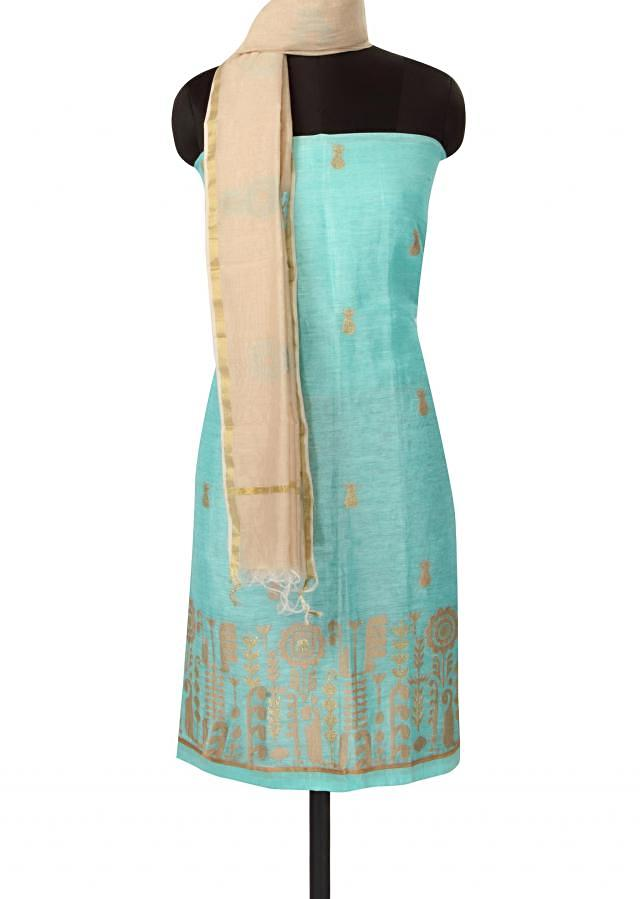 Sky blue unstitched suit adorn in resham and zari only on Kalki