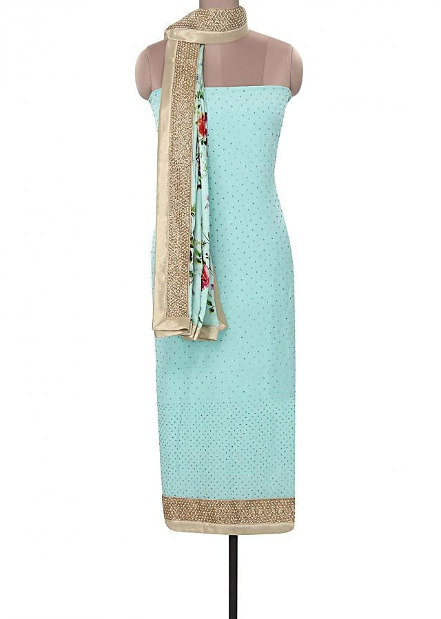 Sky blue unstitched suit matched with [printed dupatta only on Kalki