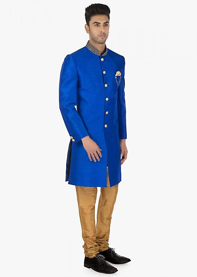 Sky driver blue Navabi silk kurta with Sandal brown PS silk chudidar set only on Kalki