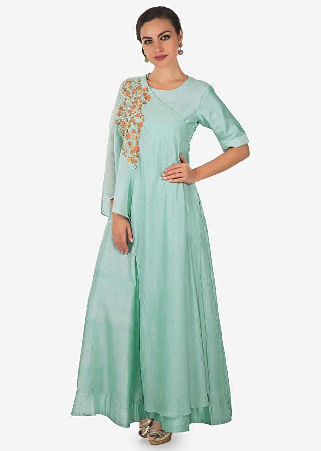 Sky blue anarkali dress matched with zardosi embroidered overlapping jacket