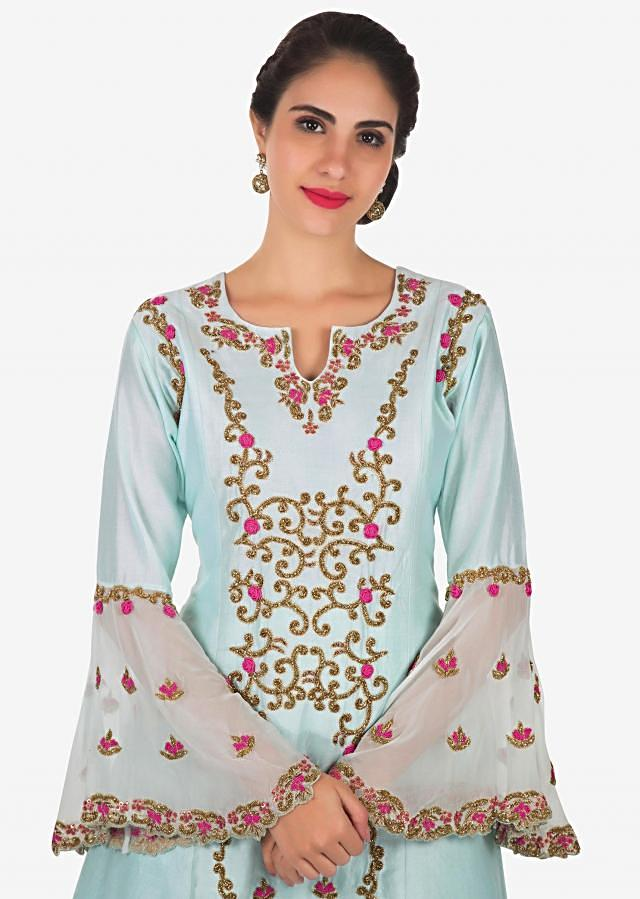 Sky blue A line suit in cotton silk with cut dana and resham embroidery only on Kalki