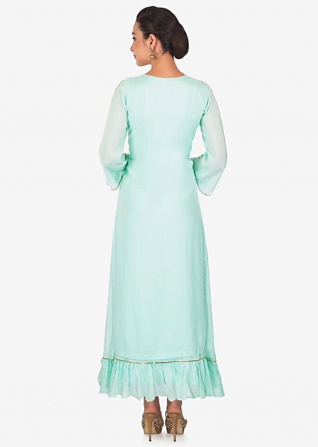 Sky blue double layer kurti adorn in thread and lace embroidered butti only on Kalki