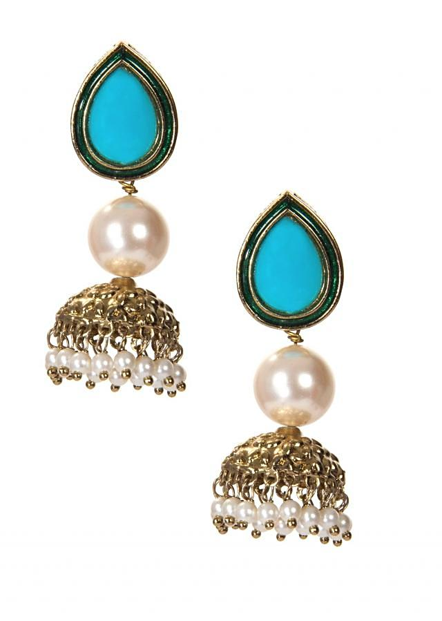 Sky Blue Drop Jhumkas With White Pearls only on Kalki