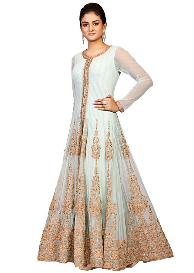Sky blue heavy anarkali gown in net showcasing the classic aari embroidery only at Kalki