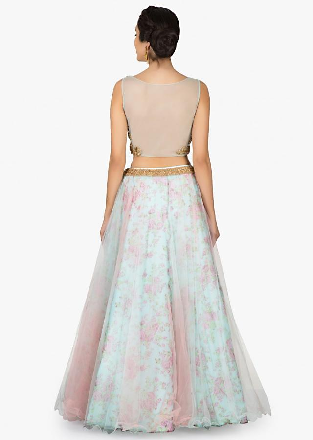 Sky blue lehenga with printed lining and crop top blouse only on Kalki
