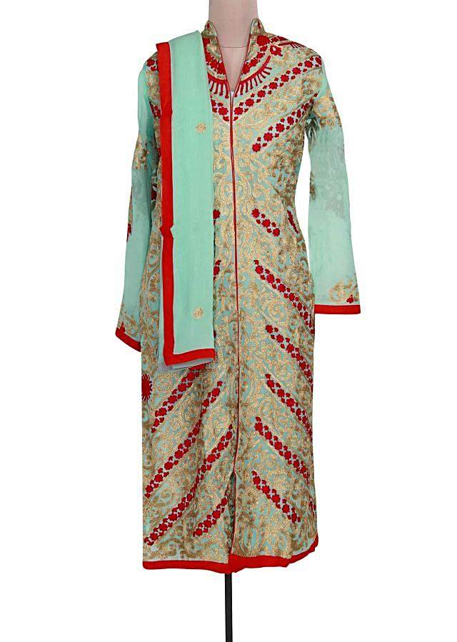 Sky blue semi stitched suit adorn in resham and zari work only on Kalki