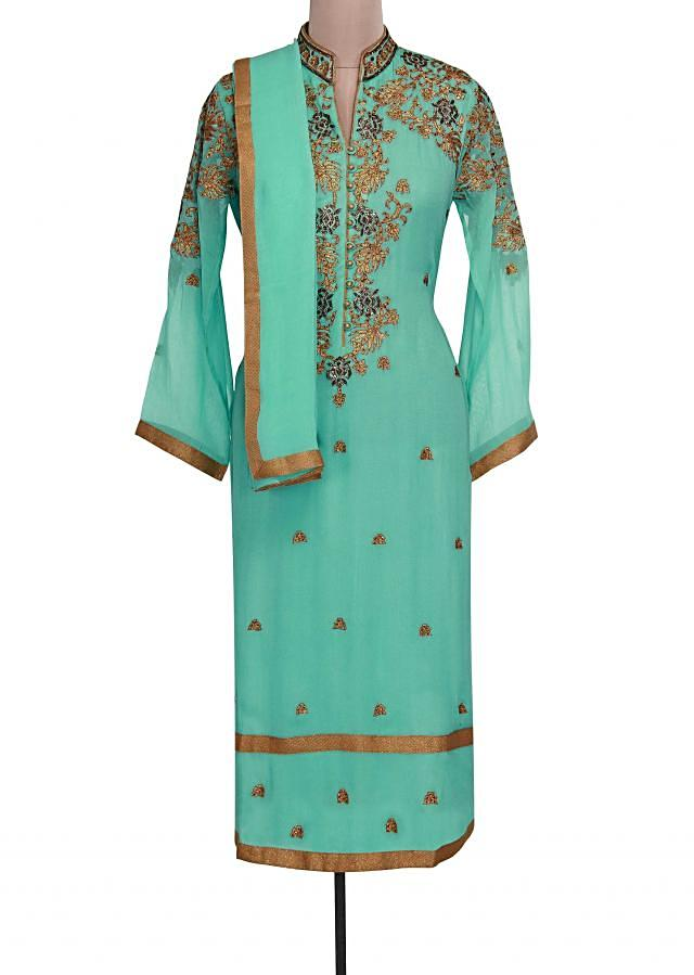Sky blue semi stitched suit adorn in zari and kundan only on Kalki